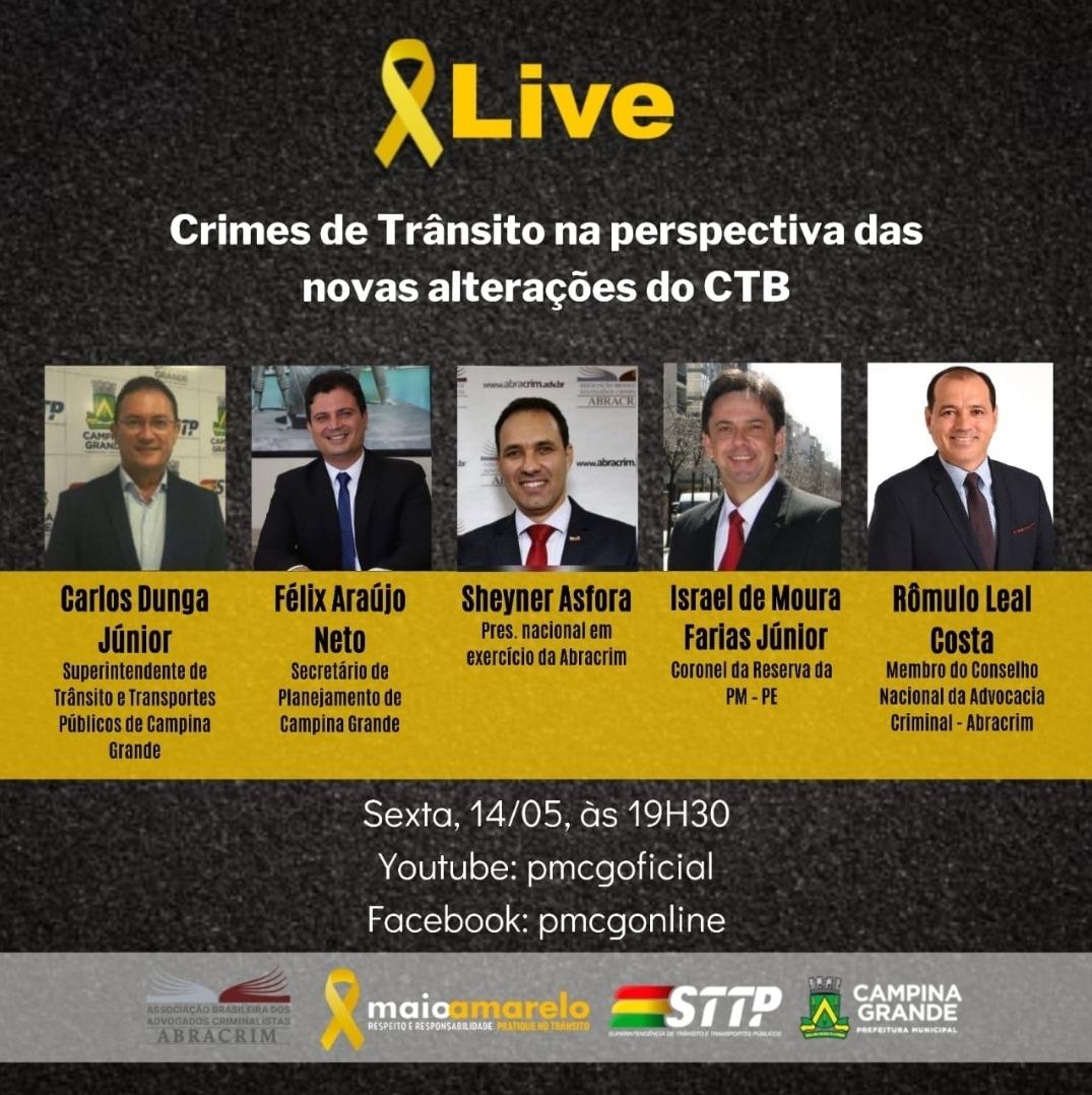 Em ação do Maio Amarelo, STTP e Abracrim realizam live sobre crimes de trânsito
