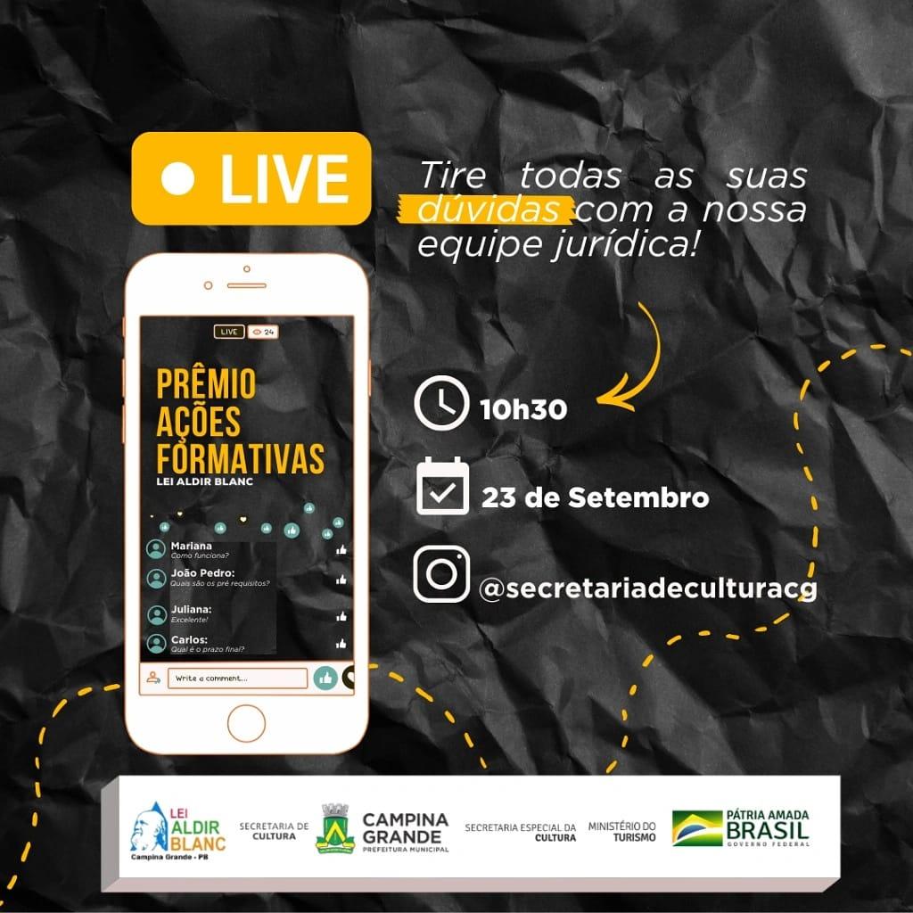 Secretaria de Cultura realizará live sobre Lei Aldir Blanc